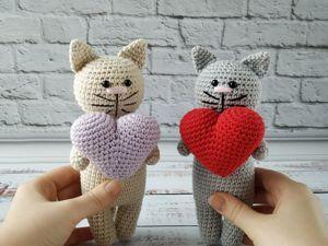 Мастер-класс: «Кот Сердечный», вяжем крючком. Ярмарка Мастеров - ручная работа, handmade.