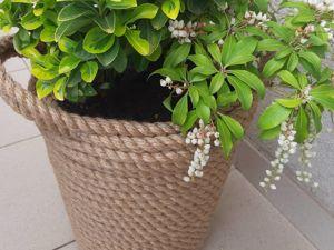 Декорируем горшок цветочный при помощи джутового каната. Ярмарка Мастеров - ручная работа, handmade.