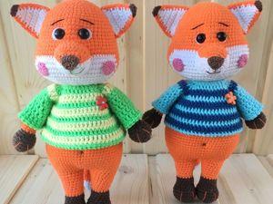 Мастер-класс по вязанию свитера крючком на пуговицах для лисёнка. Ярмарка Мастеров - ручная работа, handmade.