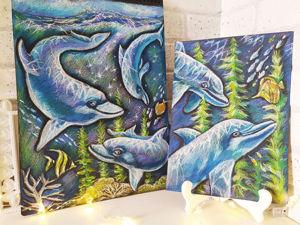 Рисуем дельфинов масляной пастелью. Ярмарка Мастеров - ручная работа, handmade.