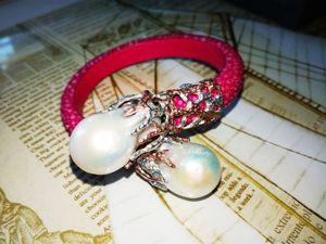 Скидка на браслет с барочным жемчугом, кожа ската. Ярмарка Мастеров - ручная работа, handmade.