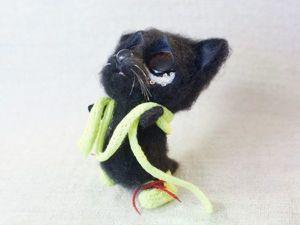 Видео мастер-класс: валяем грустного черного кота. Ярмарка Мастеров - ручная работа, handmade.