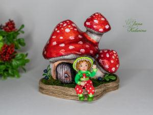 Домик грибок с жильцом!. Ярмарка Мастеров - ручная работа, handmade.