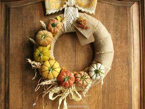 Осенний декор интерьера. Создаем венок  с текстильными тыквами. Ярмарка Мастеров - ручная работа, handmade.