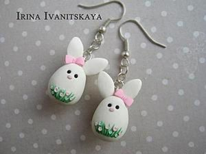 Tutorial on Easter Bunny Earrings of Polymer Clay. Livemaster - handmade
