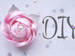 Заколка с розой из атласной ленты своими руками. Ярмарка Мастеров - ручная работа, handmade.