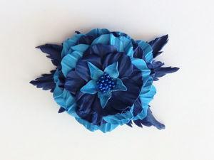 Заколка из кожи  «Цветок». Ярмарка Мастеров - ручная работа, handmade.