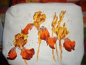 """Как расписать косметичку или сумочку """"Желтые ирисы"""". Ярмарка Мастеров - ручная работа, handmade."""