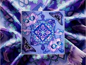 """Роспись платка """"Ультрафиолетовый Восток"""": несколько секретов рисования бабочек. Батик. Ярмарка Мастеров - ручная работа, handmade."""