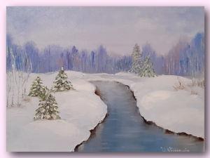 Видео обзор картины Зимний ручей. Ярмарка Мастеров - ручная работа, handmade.