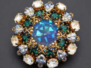 Новая брошь блестяшка с кристаллами Swarovski. Ярмарка Мастеров - ручная работа, handmade.