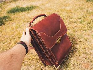 Мужской кожаный портфель. Ярмарка Мастеров - ручная работа, handmade.