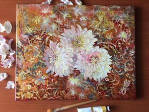 Фантазия с георгинами — новая интерьерная картина. Ярмарка Мастеров - ручная работа, handmade.