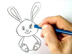 Видео мастер-класс: рисуем вместе с детьми милого зайчика. Ярмарка Мастеров - ручная работа, handmade.