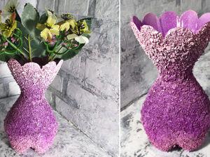 Делаем вазу из пластиковой бутылки: видео мастер-класс. Ярмарка Мастеров - ручная работа, handmade.