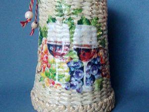 Ваза плетеная. Стакан. Подставка под бутылку. Ярмарка Мастеров - ручная работа, handmade.