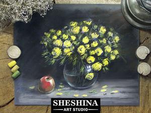 Видеоурок: рисуем натюрморт с желтыми цветами сухой пастелью. Ярмарка Мастеров - ручная работа, handmade.
