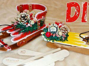 Санки из палочек от мороженого — елочная игрушка. Ярмарка Мастеров - ручная работа, handmade.