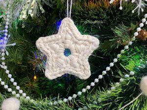 На елку Вязаная Звезда из трикотажной пряжи. Ярмарка Мастеров - ручная работа, handmade.