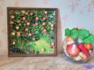 Панно  «Денежное дерево — древо жизни и достатка в 3D»  (Персиковое). Ярмарка Мастеров - ручная работа, handmade.