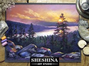 Видеоурок: рисуем красивый закат сухой пастелью. Ярмарка Мастеров - ручная работа, handmade.