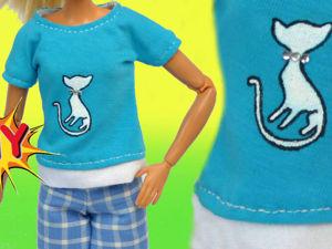 Как сшить футболку для куклы Barbie своими руками (DIY). Ярмарка Мастеров - ручная работа, handmade.