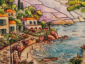 Средиземноморский пейзаж в витражной технике. Ярмарка Мастеров - ручная работа, handmade.