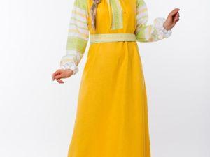 Платье льняное традиционное Ясно солнышко. Ярмарка Мастеров - ручная работа, handmade.