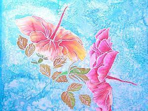 Видео мастер-класс: создаем рисунок на ткани «Гибискус и бабочки». Ярмарка Мастеров - ручная работа, handmade.