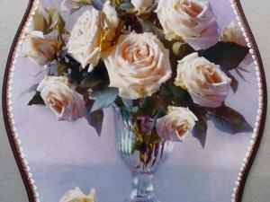 Продаётся панно за 500 р . Белые розы в вазе. Ярмарка Мастеров - ручная работа, handmade.