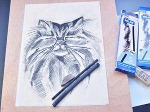 Рисуем углем портрет кота. Ярмарка Мастеров - ручная работа, handmade.