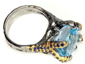 Скидка 20% на кольцо  «гОлубая Мечта»  с Топазом И Сапфирами. Ярмарка Мастеров - ручная работа, handmade.
