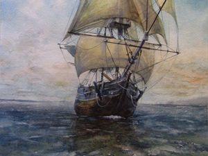 Рисуем акварелью парусник на море. Ярмарка Мастеров - ручная работа, handmade.