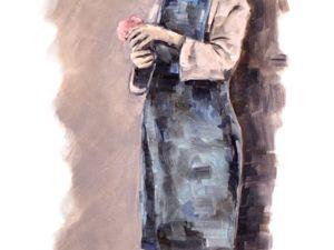 День 122. Этюд на основе винтажного фото  «Девочка с цветами». Ярмарка Мастеров - ручная работа, handmade.