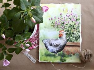 Видеоурок: как нарисовать картину акварелью «Курочка». Ярмарка Мастеров - ручная работа, handmade.