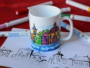 Фломастеры по керамике. Роспись чашки. Ярмарка Мастеров - ручная работа, handmade.