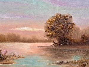 Пишем рассвет на озере. Ярмарка Мастеров - ручная работа, handmade.