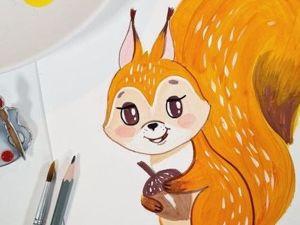 Рисуем с детьми Белочку. Ярмарка Мастеров - ручная работа, handmade.