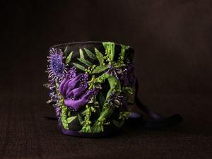 Браслет Где-то в цветочной долине с вышивкой на заказ. Ярмарка Мастеров - ручная работа, handmade.