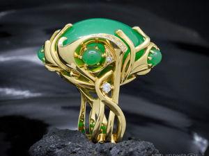 Кольцо  «Хризопразовый мир»  — фантазия о космосе. Ярмарка Мастеров - ручная работа, handmade.