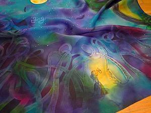 """Свободная роспись: платок """"Волшебная ночь"""". Ярмарка Мастеров - ручная работа, handmade."""