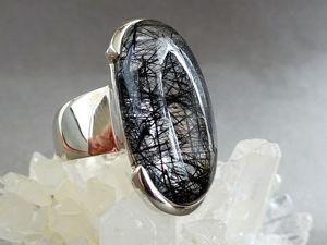 Кольцо с кварцем и шерлом. Ярмарка Мастеров - ручная работа, handmade.