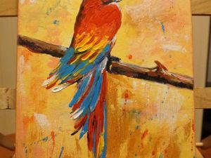 Видео мастер-класс: пишем акрилом попугайчика. Ярмарка Мастеров - ручная работа, handmade.