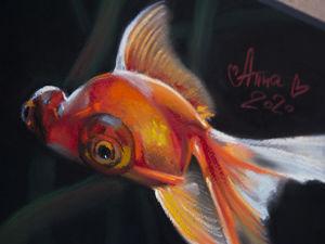 Рисунок сухой пастелью — Рыбка. Ускоренное видео. Ярмарка Мастеров - ручная работа, handmade.