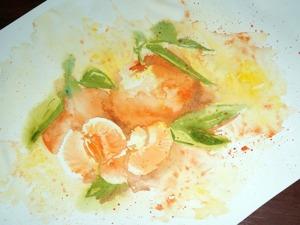 Рисуем сочные мандарины акварелью по-сырому. Ярмарка Мастеров - ручная работа, handmade.