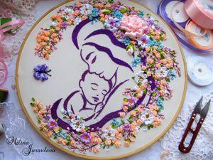 Процесс вышивки панно  «Мамина любовь». Ярмарка Мастеров - ручная работа, handmade.