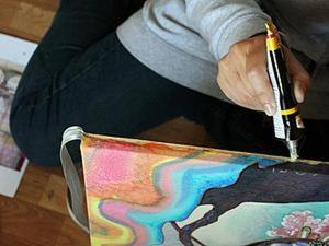 И еще один способ натянуть батик на подрамник. Ярмарка Мастеров - ручная работа, handmade.
