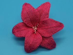Вяжем лилию крючком. Тунисское вязание. Ярмарка Мастеров - ручная работа, handmade.