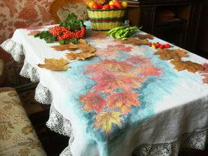 Осенняя скатерть — роспись по ткани. Ярмарка Мастеров - ручная работа, handmade.