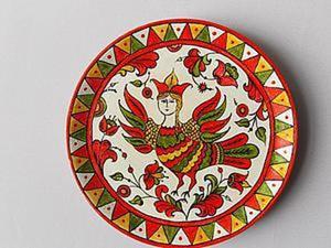 """Роспись тарелки """"Птица Сирин"""". Ярмарка Мастеров - ручная работа, handmade."""